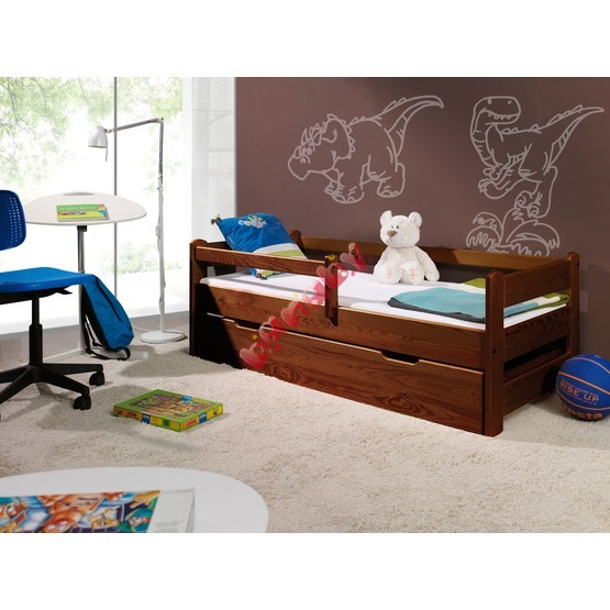 Children's Bed with Safety Rail - Walnut