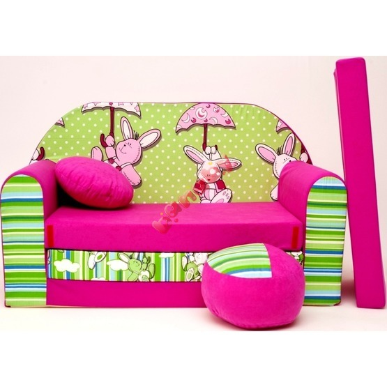 Bunnies Children's Sofa Bed - Green-Purple