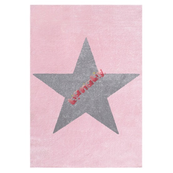 STAR Children's Rug - Pink/Silver-Grey