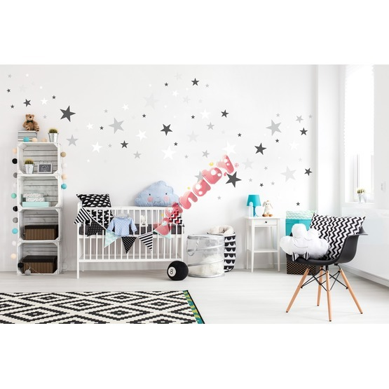 Decoration to wall - stars gray / white