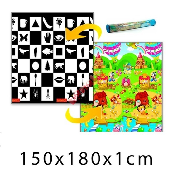 Children's Foam Play Mat - Chessboard + Lion's House 150 x 180 x 1 cm