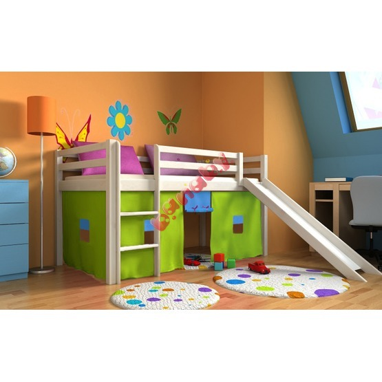 Children's loft bed Ourbaby Modo white with slide