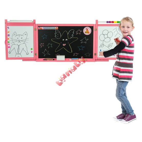 Children's magnetic / chalk board on a wall - pink