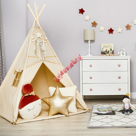 Teepee with washer Gold Ecru