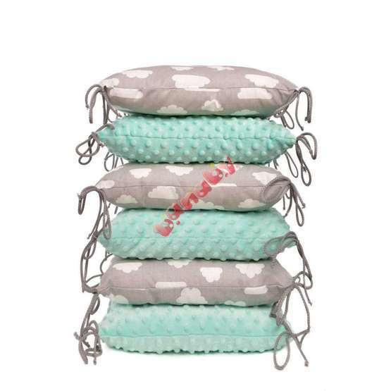 Cushioned bed padding - mint-gray