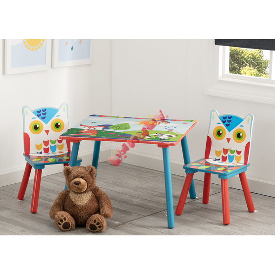 Children table with chairs Forest critters