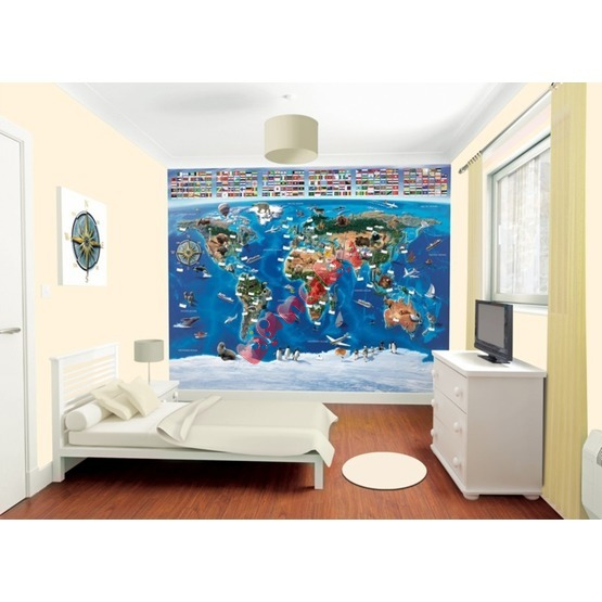 3D World Map Wall Mural