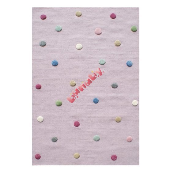 Children's rug dotted - pink