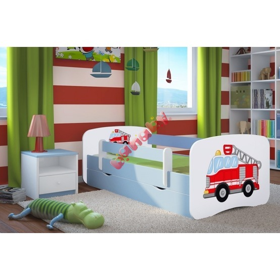 Ourbaby Children's Bed with Safety Rail - Fire Truck - Blue