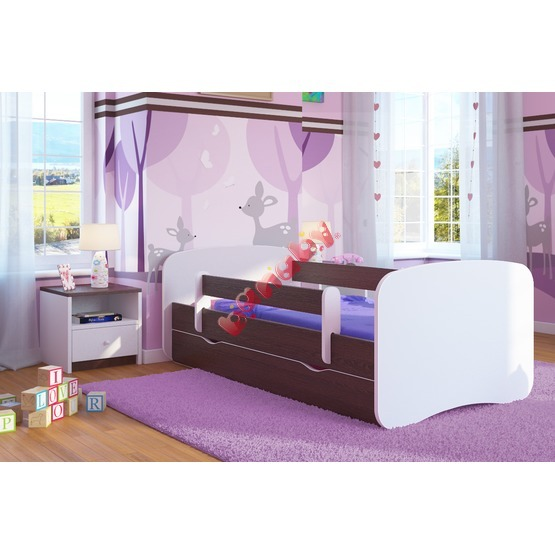 Ourbaby Children's Bed with Safety Rail - Wenge-White