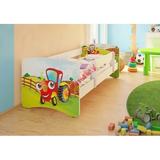 Children's Bed with Safety Rail - Little Tractor