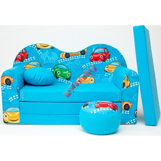 Cars Children's Sofa Bed - Blue