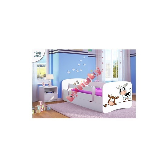 Ourbaby Children's Bed with Safety Rail - Cows - White