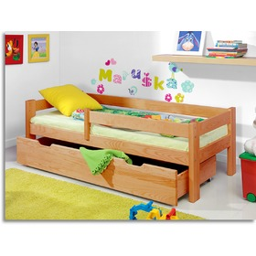 Children's Bed with Safety Rail - Alder