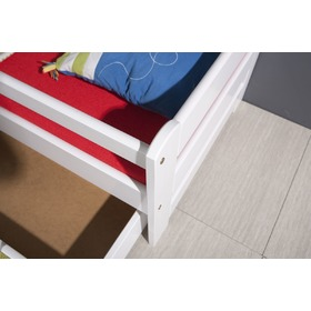 Bed with bed rail - White