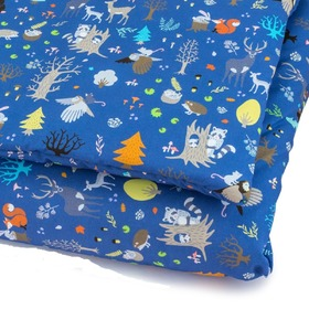 Linen with fillings Forest critters - blue, Makaszka