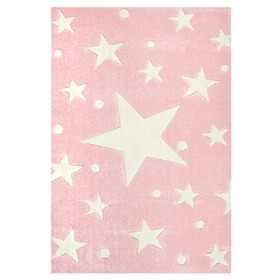 STARS Children's Rug - Pink/White