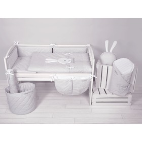 3-Piece Sleep&Hug Baby Cot Bedding Set - Grey, Modenex