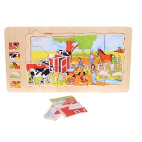 Children wood puzzle Farm, EcoToys