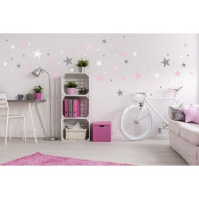 Decoration to wall - stars gray / pink, Mint Kitten