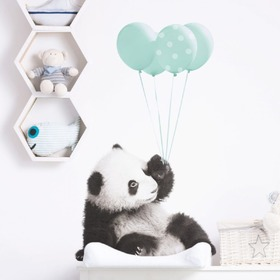 Wall decoration DEKORNIK - panda with mint balloons, Dekornik