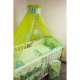 Set crib bedding 120x90cm Flowers green