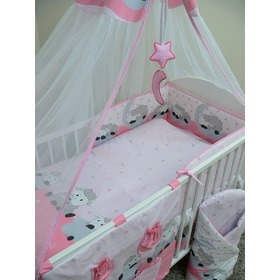 Bedding set for cribs 120x90cm Lamb - pink