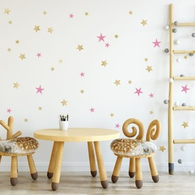 Wall stickers - GOLDEN AND PINK STARS