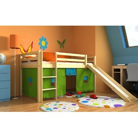 Children's loft bed Ourbaby Modo natural with slide