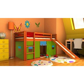 Children's loft bed Ourbaby Modo alder with slide, Litdrew