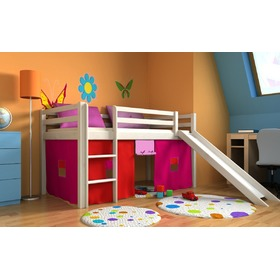 Children's loft bed Ourbaby Modo white with slide, Litdrew