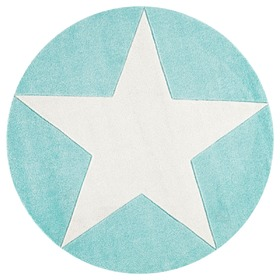 Children's round rug STARS mint-white
