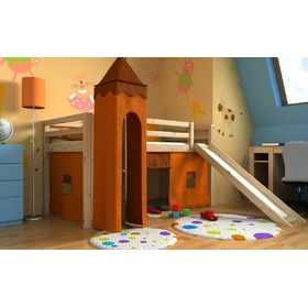 Children's loft bed Gabi with tower and a slide - pine, Bociek