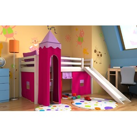 Loft bed Gabi with tower and a slide for children- white, Bociek