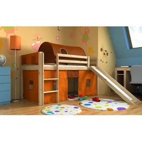 Loft bed Gabi with slide, tunnel a pockets - pine