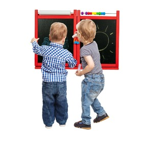 Children's magnetic / chalk wall board - red, 3Toys.com