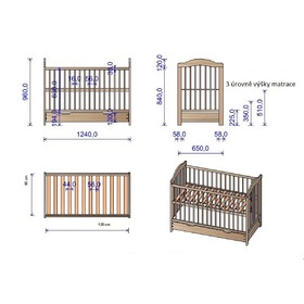 Baby cot Alek with removable partitions - natural