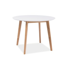 Round eating table MOSSE I white / oak, SIGNAL MEBLE
