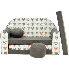 Kids' sofa Grey hearts , Welox