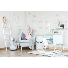 Wall decoration crown gray-white-pink
