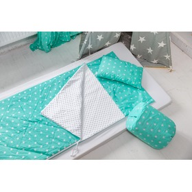 Children sleeping bag with pad Stars mint 88, Dom-Dekor