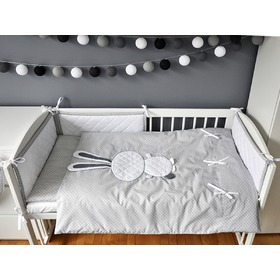 Children 2-piece bed linen bunny - grey, Modenex
