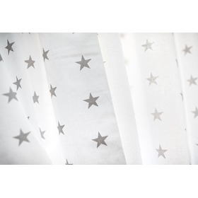 Curtains for children White with gray stars 19, Dom-Dekor