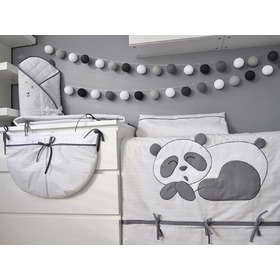 Children 3-piece bedding Panda - grey, Modenex
