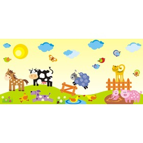 Wallpaper Border - FARM M3 0.5 m2, Mint Kitten
