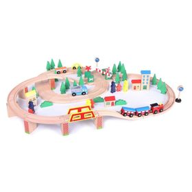 Wooden traintrack 75 pc, EcoToys