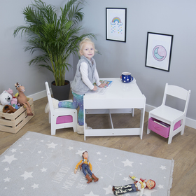 Ourbaby children's table with chairs with pink boxes, SENDA