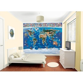 3D World Map Wall Mural, Walltastic