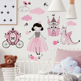 Sticker Wall sticker - Princess and dragon, Housedecor