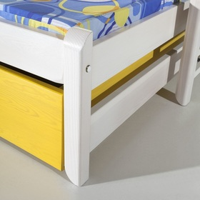 Children's bed with extra bed Natu I - white-yellow, Meblobed